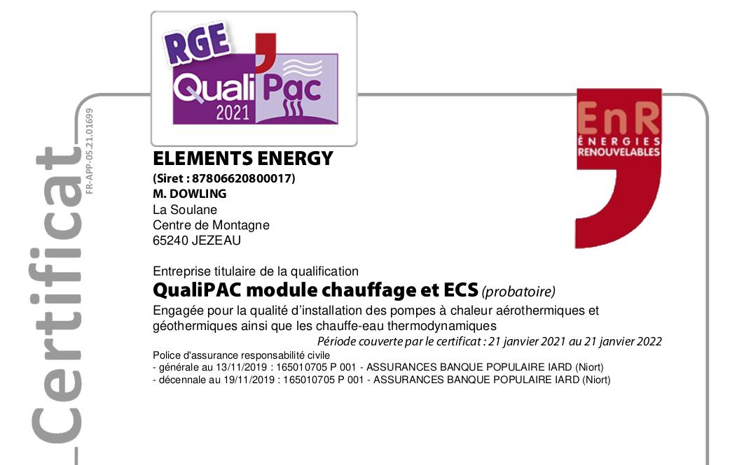 certificat QualiPAC