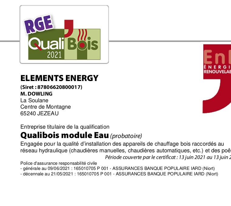 Certificat QualiBios EE